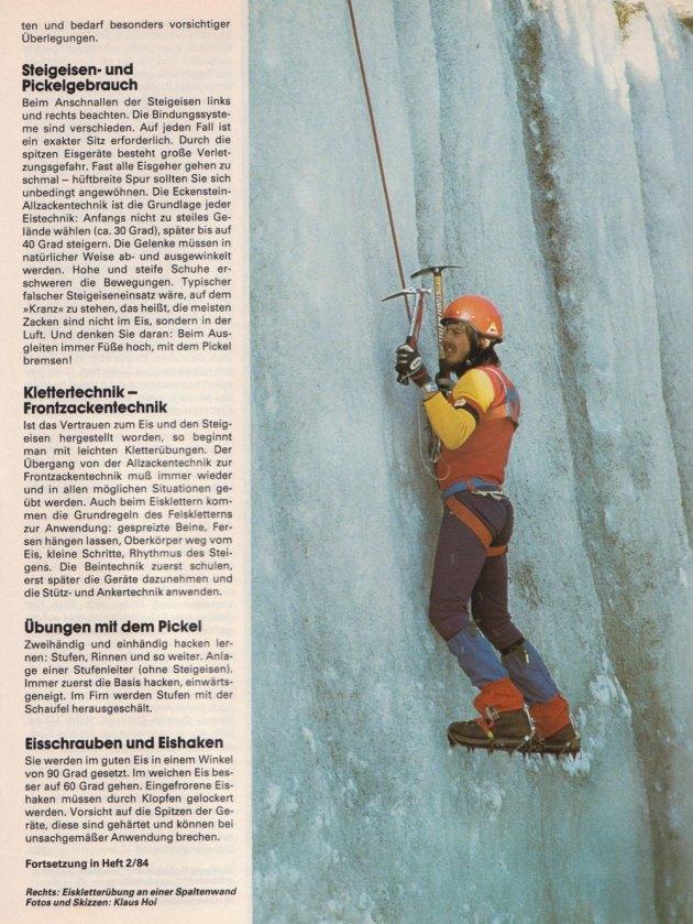 Stylish: Eisklettern in seinen Anfängen, Anfang der 80er Jahre.