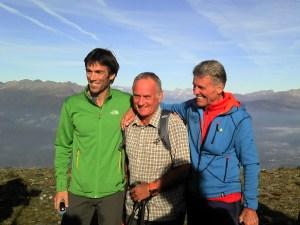 "Hervé Barmasse, Mark Inglis, Peter Habeler beim ""Walk day"" auf dem Skiberg Plose"